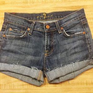 {7FAM} Distressed Cutoff Denim Jean Shorts 26/2